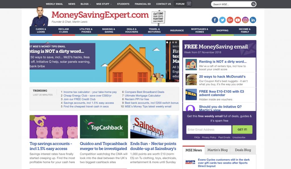 Example of a deals website